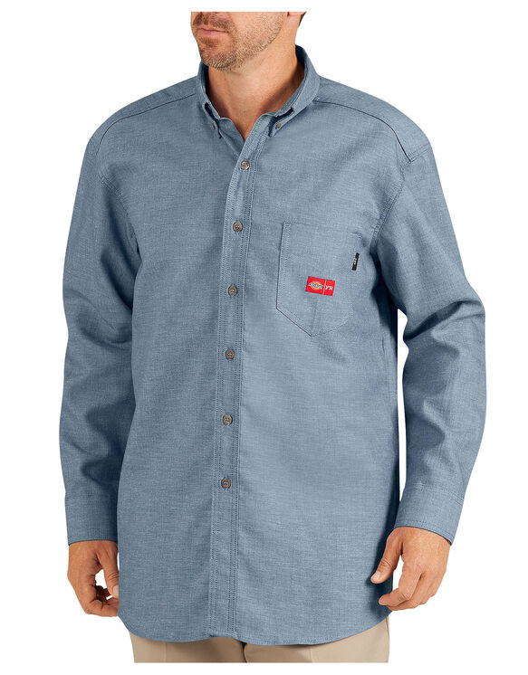 Flame-Resistant Long Sleeve Chambray Shirt - BLUE CHAMBRAY (BU)