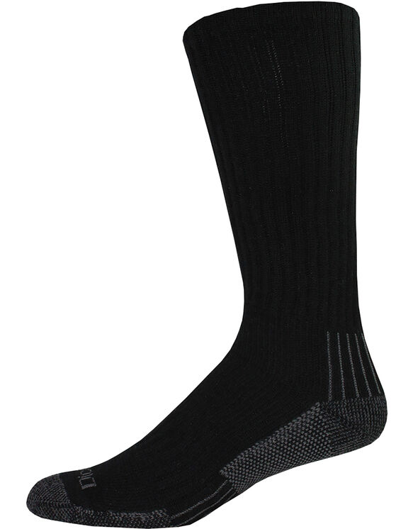 Industrial Heavyweight Cushion Work Boot Length Crew Socks, 3-Pack, Size 9-12 - BLACK (BK)
