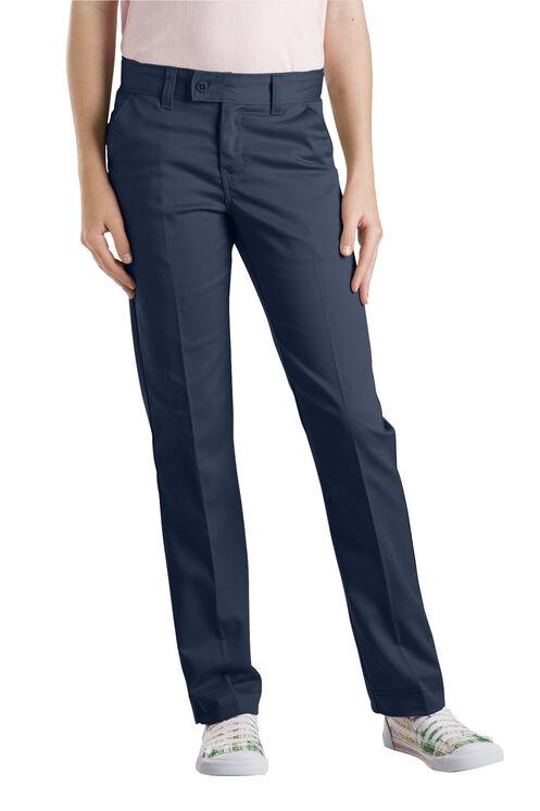 Girls' Slim Fit Straight Leg Stretch Twill Pant, 4-6x - DARK NAVY (DN)