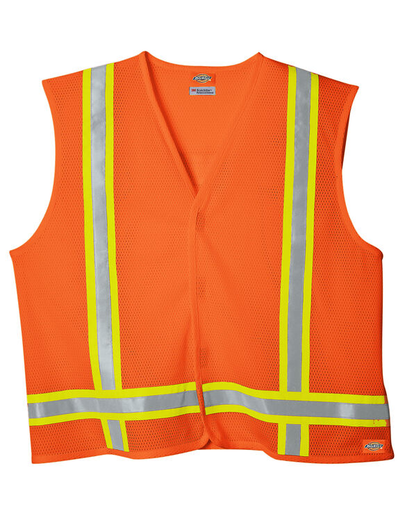 High Visibility ANSI Class 1 Tri-Color Safety Vest - ANSI ORANGE (AO)