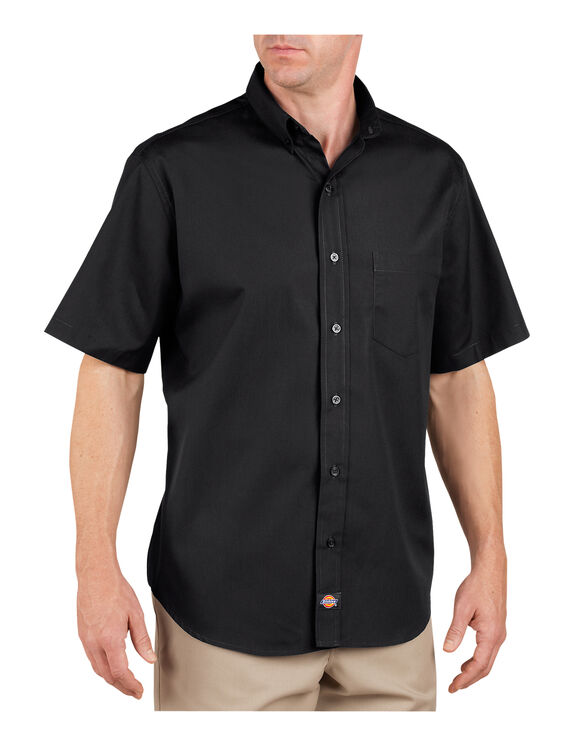 Short Sleeve Industrial Button-Down Poplin Shirt - BLACK (BK)