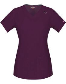 Women's EDS V-Neck Scrub Top with Certainty® - WINE-LICENSEE (WIN)