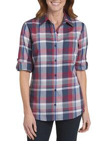 Women's Quarter Sleeve Plaid Roll-Up Shirt - PLAID RED / PRINCESS BLUE (PRU)