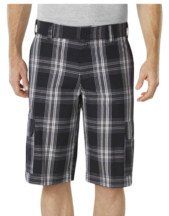 "13"" Regular Fit Plaid Cargo Short - GRAPHITE/ BLACK PLAID (HKP)"