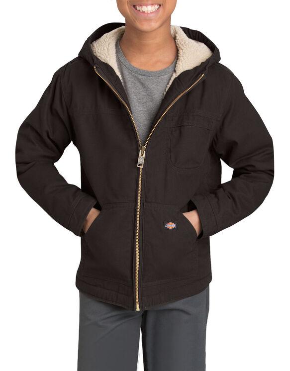 Boys' Sherpa Lined Duck Jacket, 8-20 - RINSED BLACK (RBK)