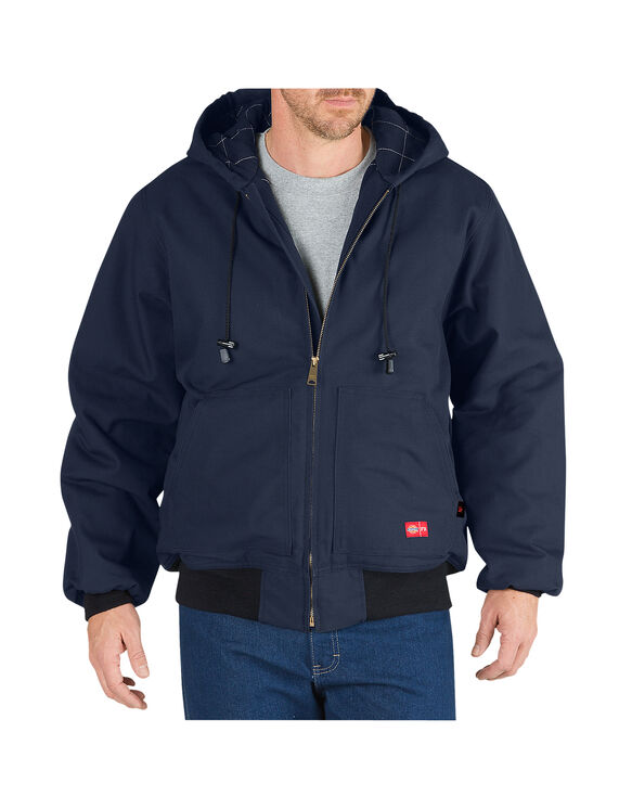 Flame-Resistant Insulated Duck Jacket with Hood - NAVY (NV)