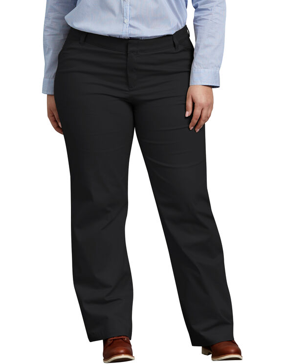 Women's Relaxed Fit Straight Leg Stretch Twill Pant (Plus) - BLACK (BK)