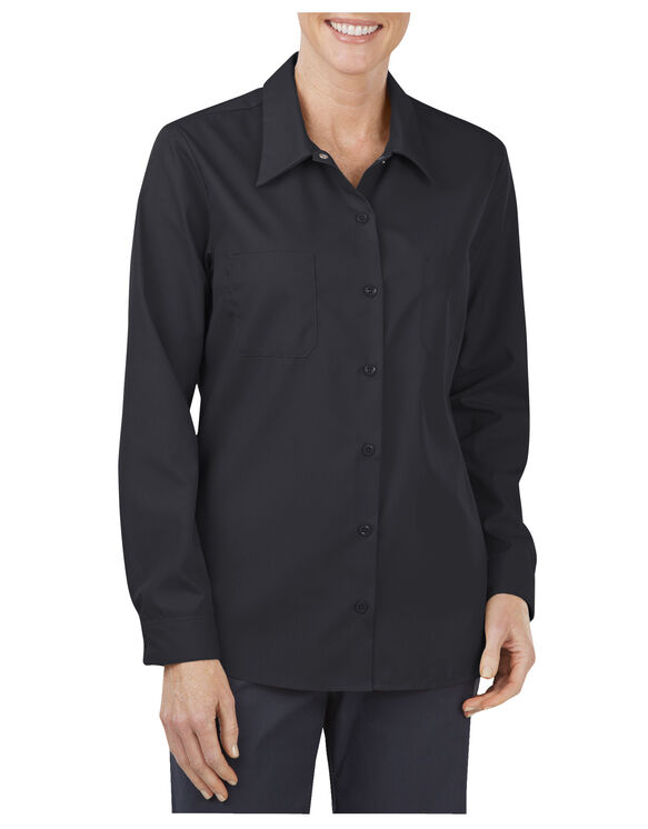 Women's Industrial Long Sleeve Work Shirt - BLACK (BK)