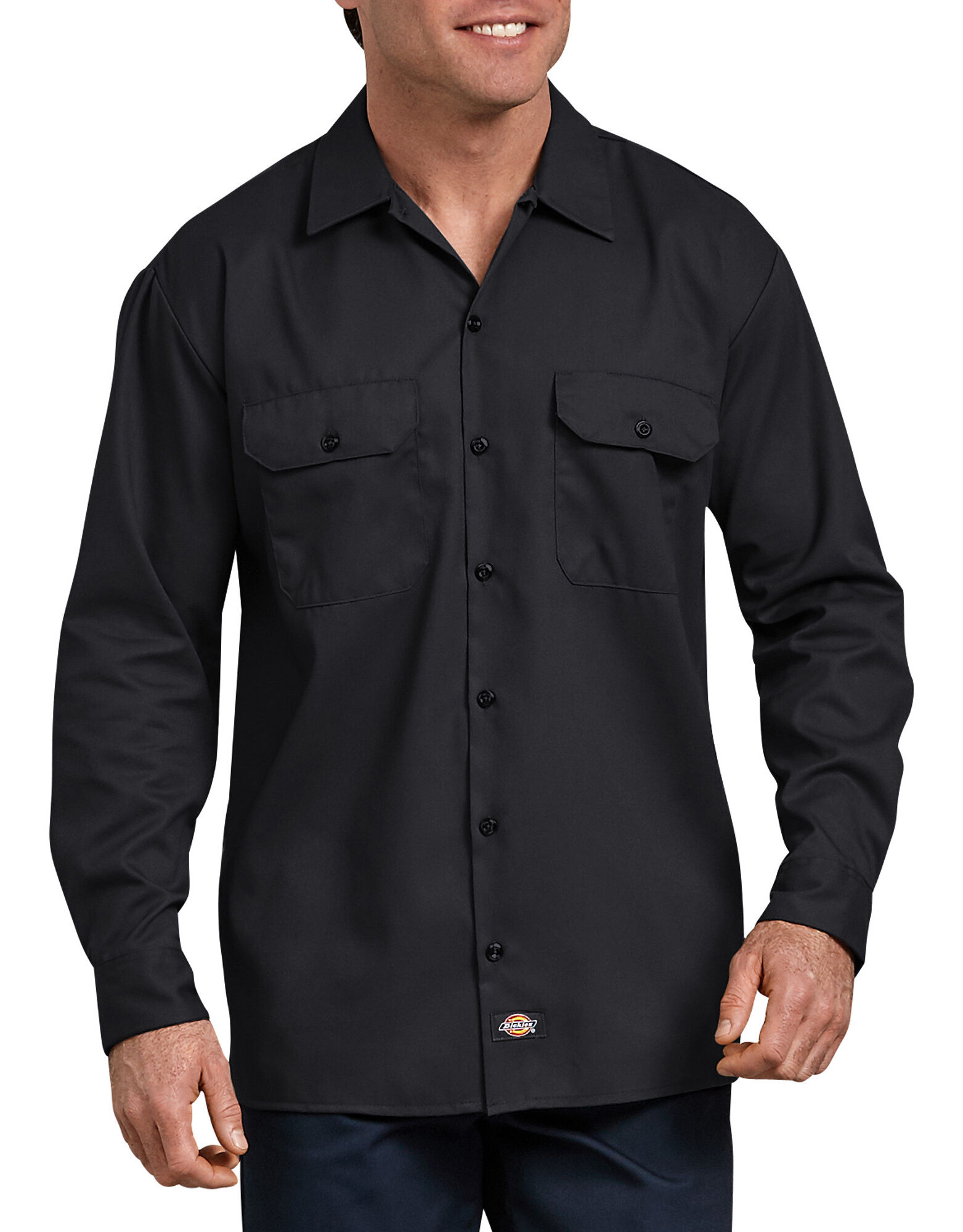 Flex relaxed fit long sleeve twill work shirt dickies for Black long sleeve work shirt