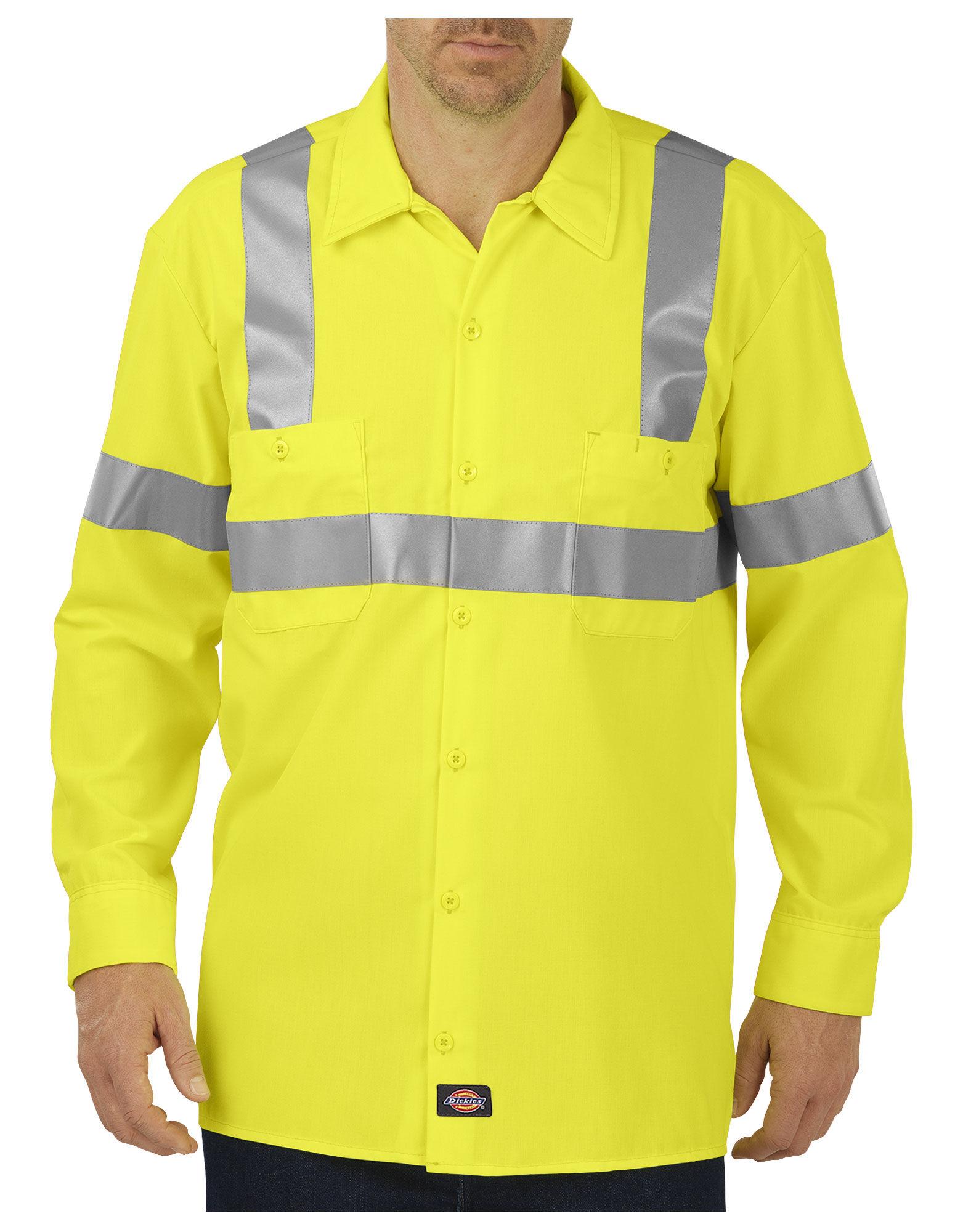 high visibility ansi class 2 long sleeve work shirt mens