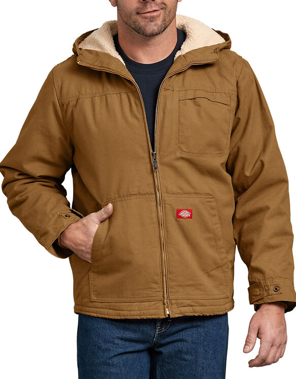 Duck Sherpa Lined Hooded Jacket - RINSED BROWN DUCK (RBD)