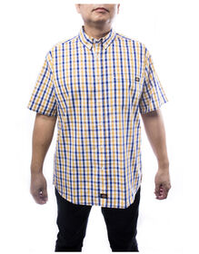 Men's Short Sleeves Plaid Shirt - YELLOW (YL)