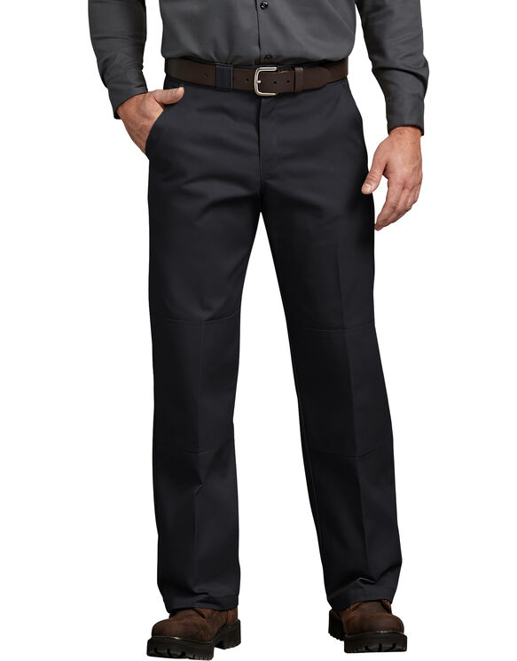Relaxed Fit Straight Leg Double Knee Pant - BLACK (BK)