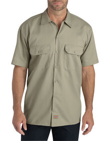 FLEX Relaxed Fit Short Sleeve Twill Work Shirt - DESERT SAND (DS)