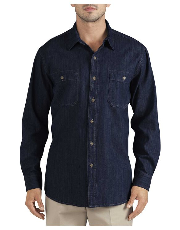 Long Sleeve Denim Shirt - RINSED MID WASH DENIM (RMWD)