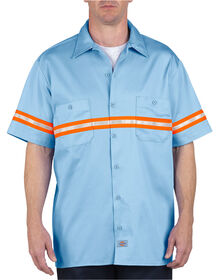 Enhanced Visibility Short Sleeve Twill Work Shirt - LIGHT BLUE (LB)