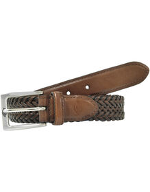 Leather V-Weave Braided Belt - BROWN (BR)