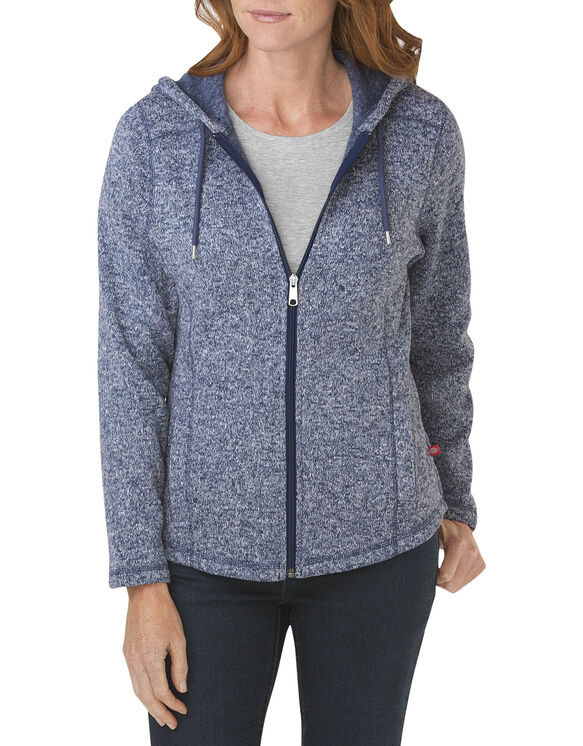 Women's Sweater Hooded Jacket - DARK DENIM/WHITE HEATHER (DMWH)
