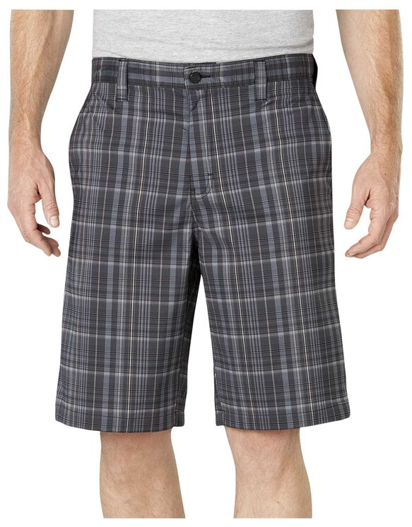 "Performance Flex 11"" Relaxed Fit Flat Front Plaid Short - CHARCOAL/BLACK PLAID (OKP)"