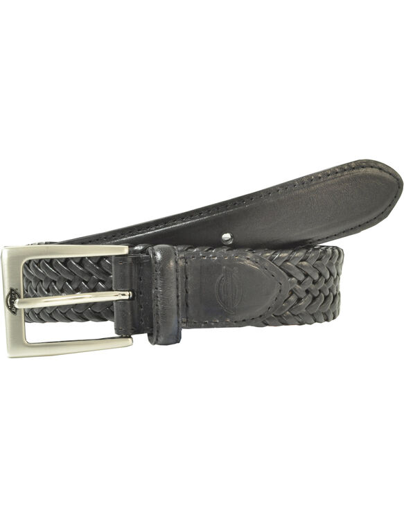 Leather V-Weave Braided Belt - BLACK (BK)