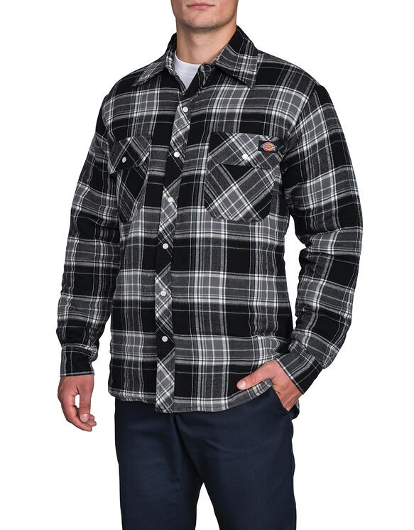 Quilted Snap Jacket - CANADA PLAID BLACK/BLUE F14M00 (B42)