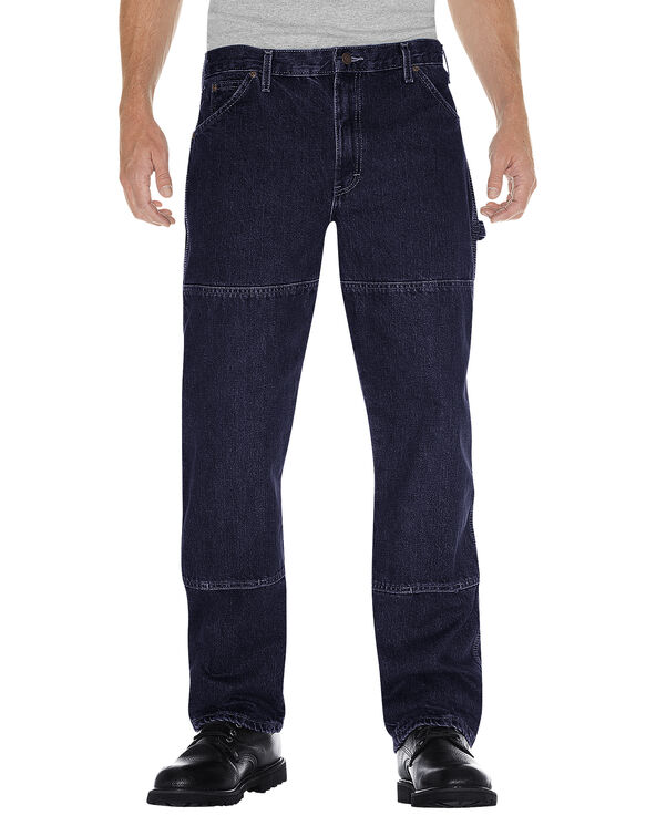 Relaxed Fit Double Knee Carpenter Denim Jean - RINSED INDIGO BLUE (RNB)