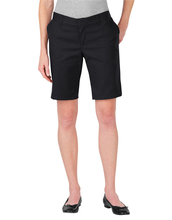 "Women's 9"" Flat Front Short - BLACK (BK)"