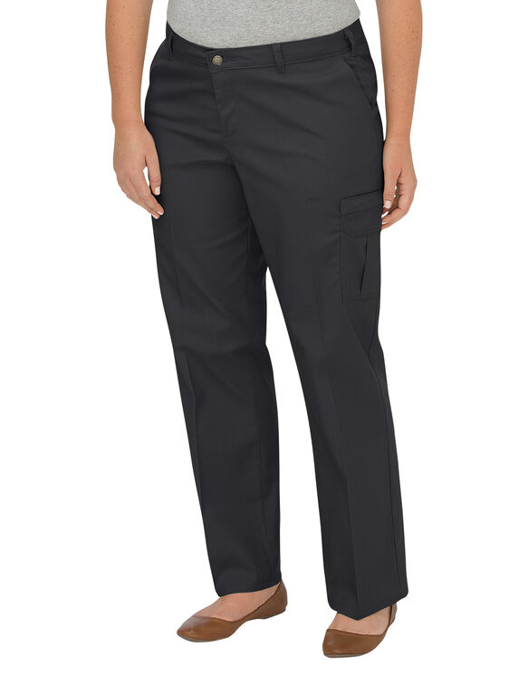 Women's Premium Relaxed Straight Cargo Pant (Plus) - BLACK (BK)