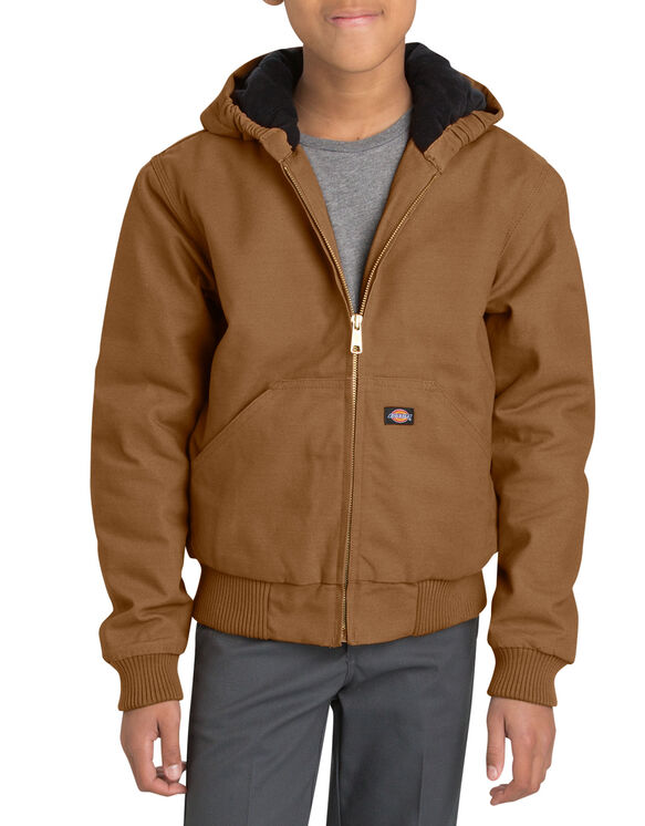 Kids' Sanded Duck Hooded Jacket, 8-20 - BROWN DUCK (BD)