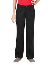 Girls' Flex Slim Fit Straight Leg Flat Front Pant, 4-6x - BLACK (BK)
