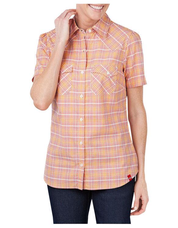 Women's Short Sleeve Plaid Shirt - MARIGOLD/VINTAGE RUST PLAID (AVP)