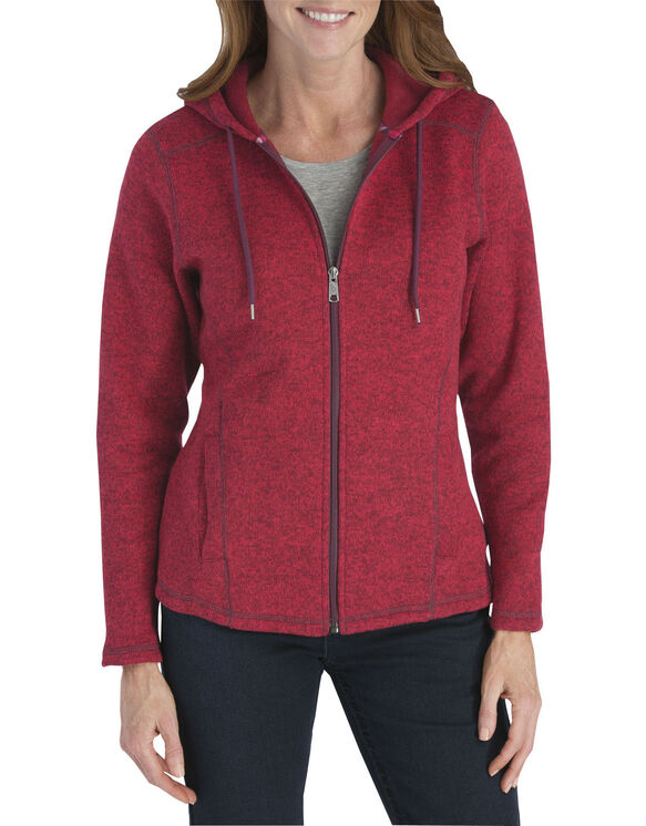 Women's Sweater Hooded Jacket - POINSETTIA/BURGUNDY (IOB)
