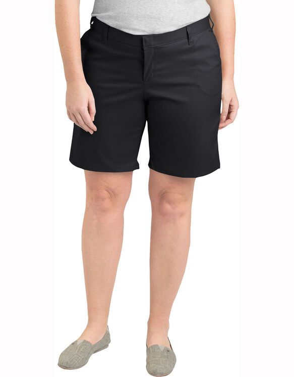 "Women's 9"" Relaxed Fit Flat Front Short (Plus) - BLACK (BK)"