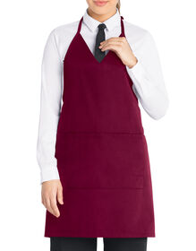 Unisex Tuxedo Style Bib Apron with V-Neck and Snap Closure - BURGUNDY (BY)