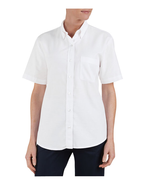 Women 39 S Button Down Oxford Shirt Short Sleeve Womens