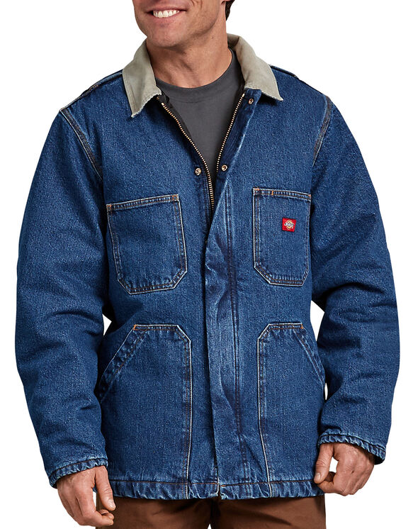 Denim Zip Front Chore Coat - STONEWASHED INDIGO BLUE (SNB)