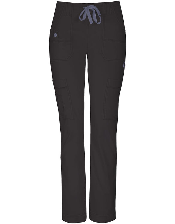 Women's Junior Fit Gen Flex Slim Drawstring Scrub Pant - BLACK (BLK)