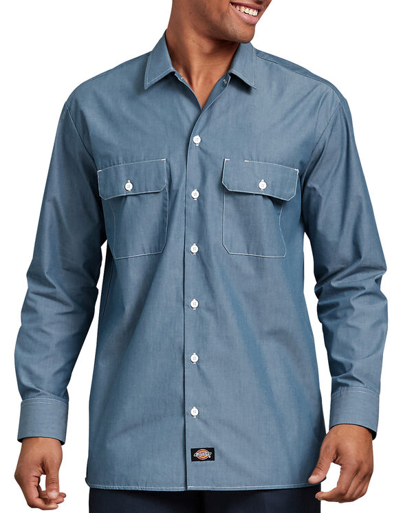 Relaxed Fit Long Sleeve Chambray Shirt