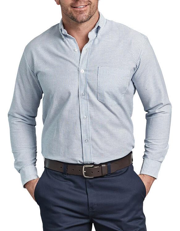 Button-Down Long Sleeve Oxford Shirt - WHITE/BLUE STRIPE (BS)