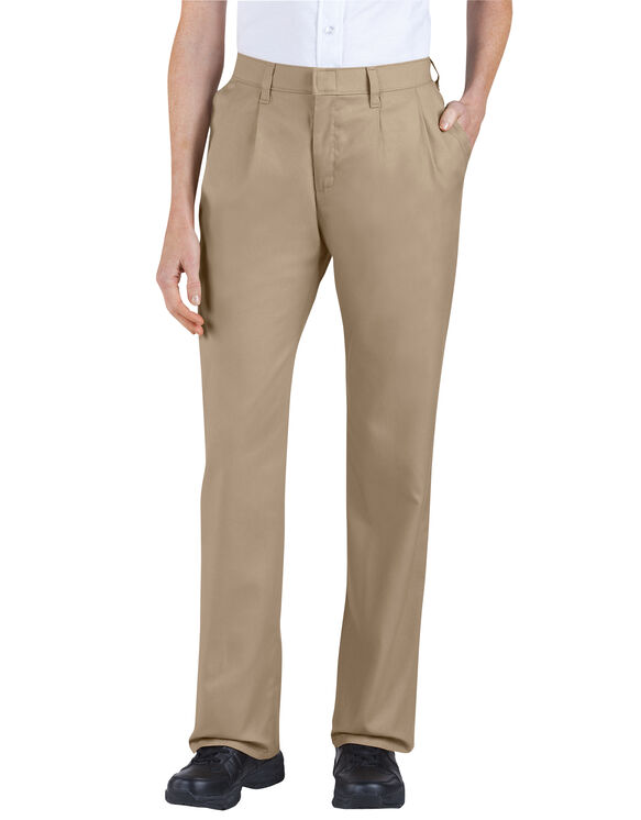 Awesome Lee Relaxed Fit At The Waist TAN KHAKI PANTS Plain Front Straight Leg Size 8P