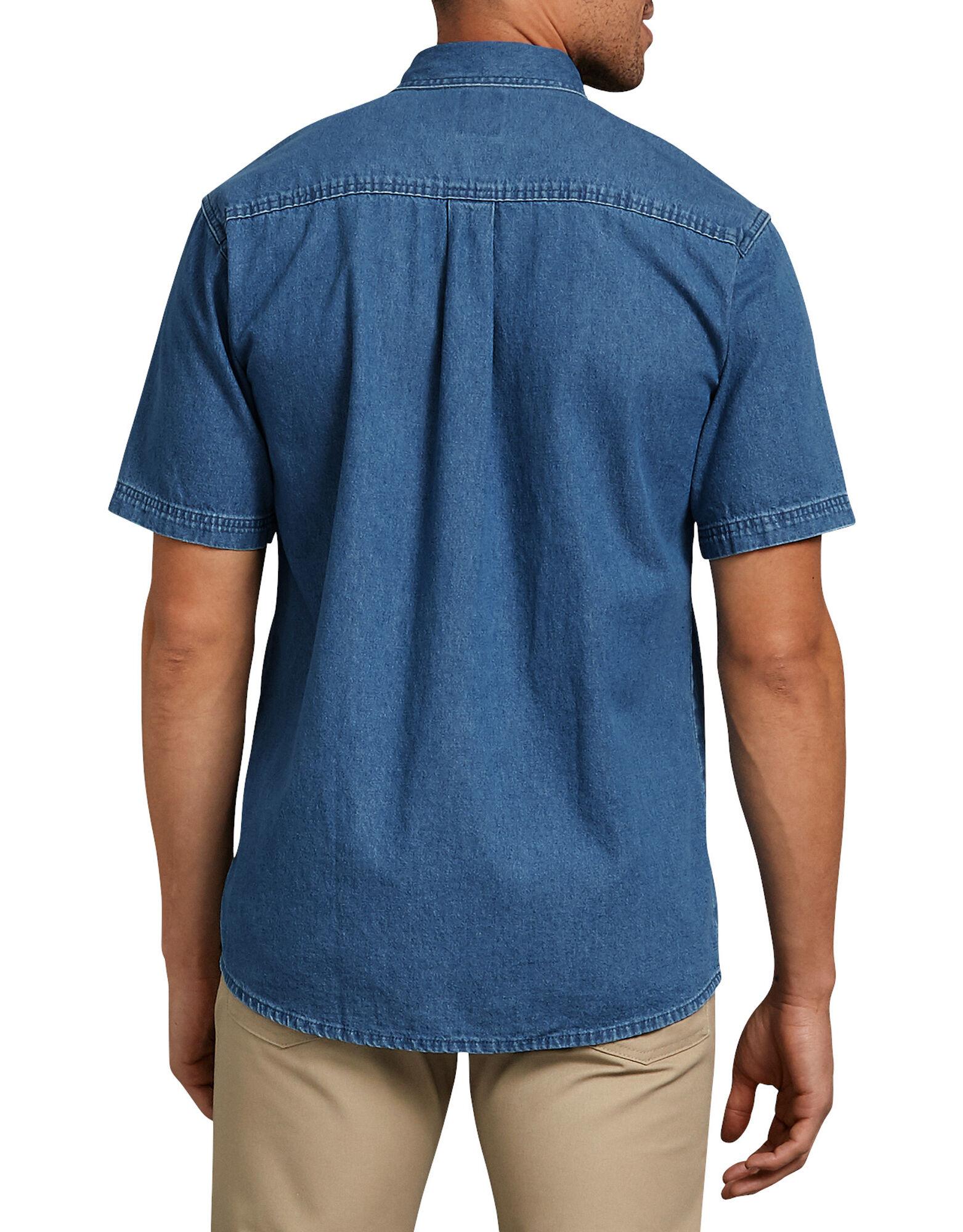 Short sleeve button down denim shirt mens shirts dickies Short sleeve button shirt