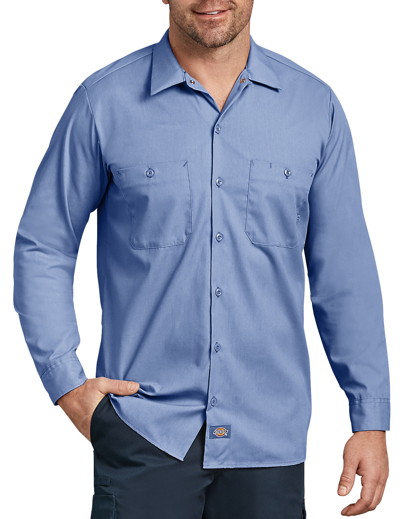 long sleeve industrial work shirt mens shirts dickies. Black Bedroom Furniture Sets. Home Design Ideas