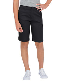 Juniors Schoolwear Classic Fit Bermuda Stretch Twill Short - BLACK (BK)
