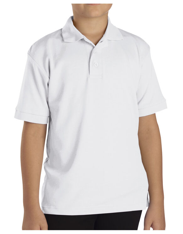 Boys' Short Sleeve Interlock Polo Shirt - WHITE (WH)