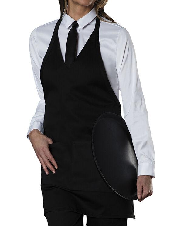Unisex Tuxedo Style Bib Apron with V-Neck and Snap Closure - BLACK (BLK)