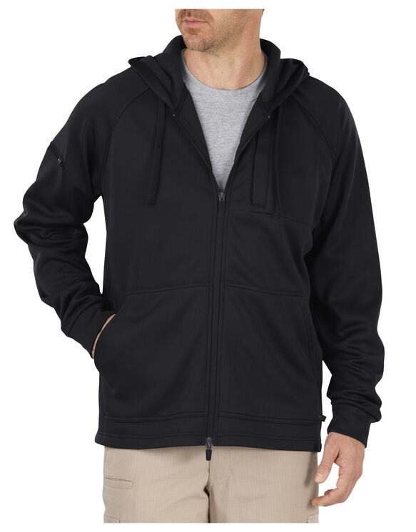 Tactical Full Zip Bonded Fleece Hoodie - BLACK (BK)