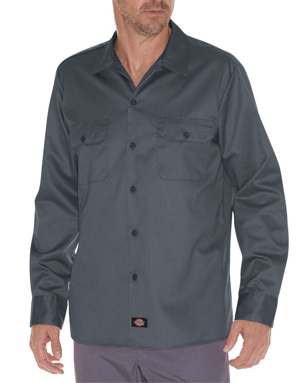 Slim Fit Long Sleeve Work Shirt - CHARCOAL (CH)