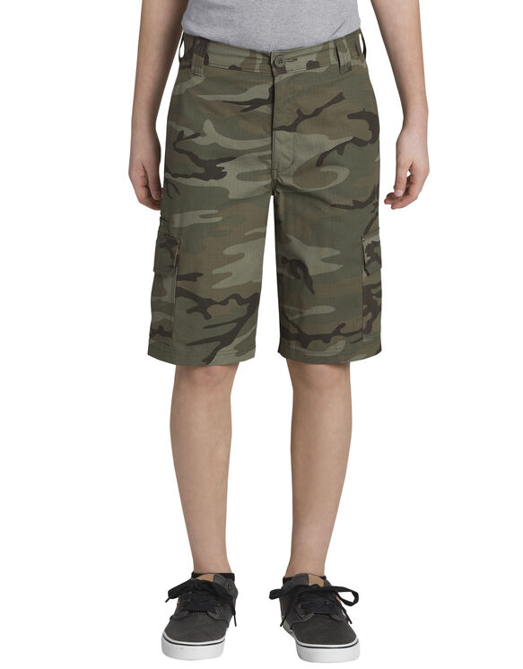 Boys' Relaxed Fit Camo Ripstop Cargo Short, 8-18 - RINSED LIGHT GREEN CAMO (RLGC)