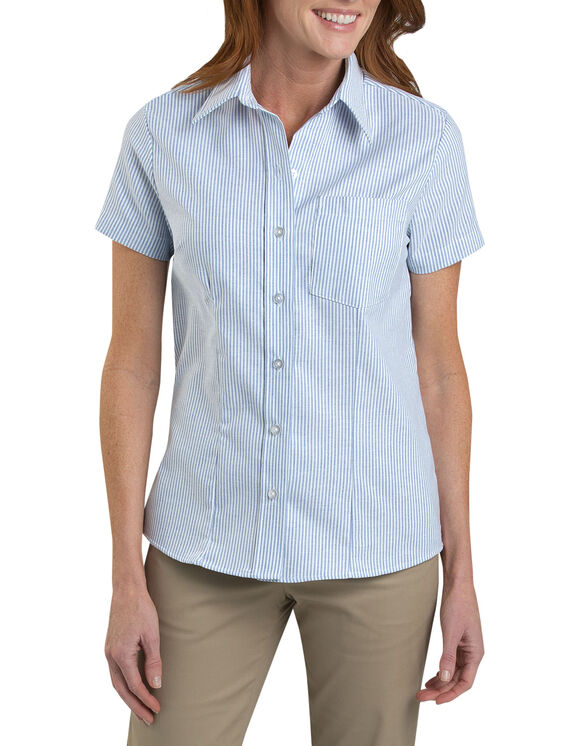 Women's Short Sleeve Stretch Oxford Shirt - WHITE/BLUE STRIPE (BS)