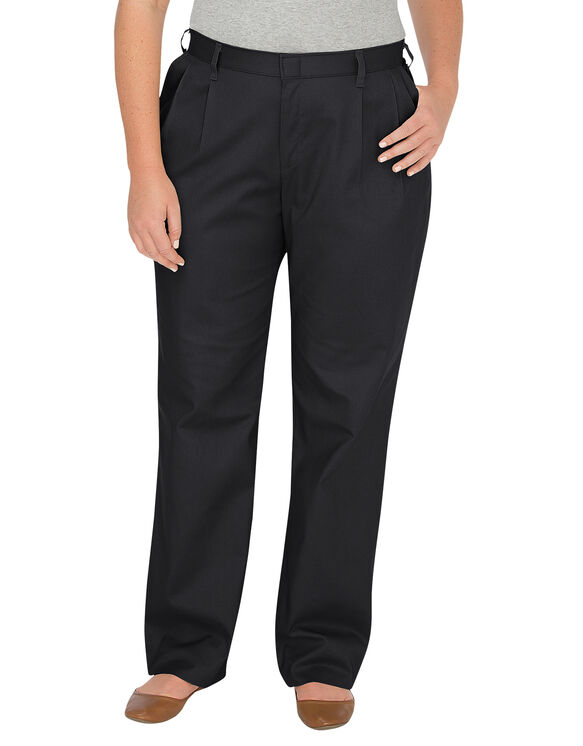Women's Relaxed Fit Straight Leg Pleated Front Pant (Plus)